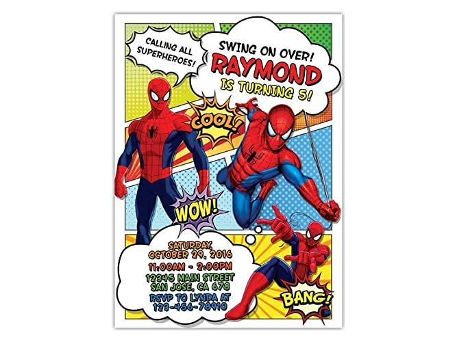 Custom Spiderman Birthday Party Invitations For Kids 10pc 60pc 4x6 Or 5x7 Cards With White Envelopes Printed On Premium 265gsm Card Stock In
