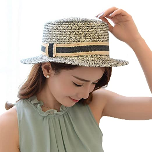 4URNEED Womens Summer Trilby Fedoras Hats Porkpie Hat Beach Sun Hat Straw  Panama Hat Blue d4b3087de8