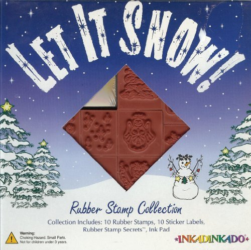 (Let It Snow! Christmas, Winter Unmounted 10 Rubber Stamp Set (w/ FREE Ink Pad) -3 Different Kind Of Snowmen, Christmas Tree, Holly, Snowman Angel, Christmas Heart, Snow Flakes, Stars, Let It Snow Wording-)