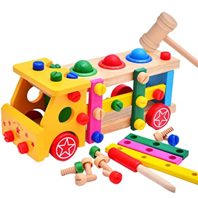BESTOM 1 Set Kid Toy Chic Stylish Fashion Creative Wooden Screw Car Toys Wooden Assemble Toy Screw Nut Assemble Toys Kids Screw Truck Toys: Toys & Games