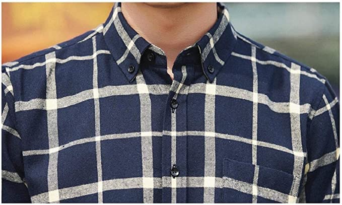 Nanquan Men Premium Relaxed Fit Plus Size Plaid Western Fitted Button-Front Shirts