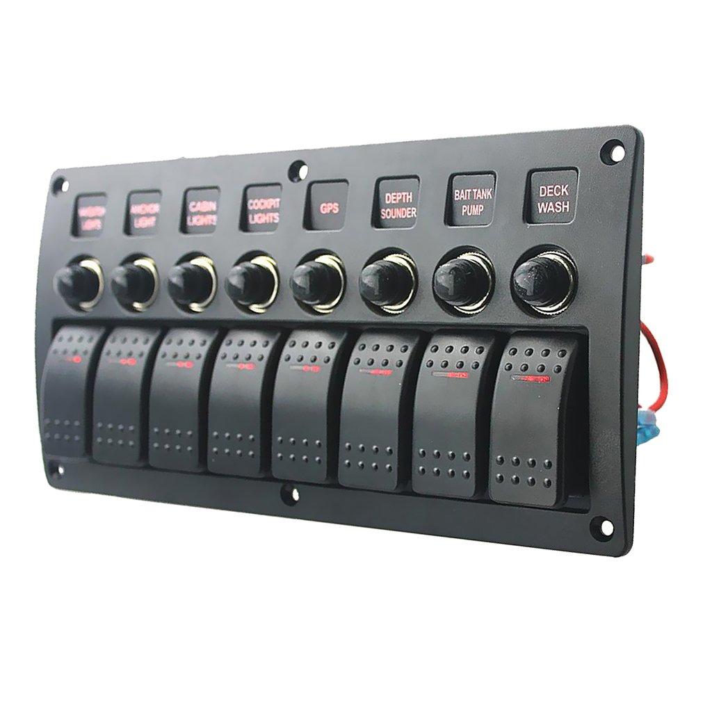 Auto 5 Gang Schaltpanel Schalter Kippschalter Rot LED Mit Voltmeter USB 12V//24V