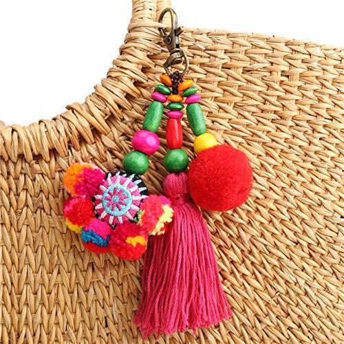 QTMY Cute Pom Pom Tassel Boho Bag Charm Pendant Keyring Keychain for Women Purse Handbag Decor (7)