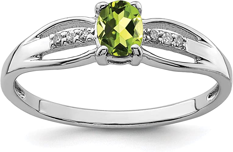 925 Sterling Silver Rhodium-plated Peridot Diamond August Stone Ring Size 6-8