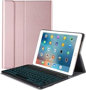 FRACASE Funda Teclado para iPad 10.2(2019),Español ,Retroiluminación de 7 colores,Teclado Bluetooth Inalámbrico Removible PU Estuche de Piel para iPad ...