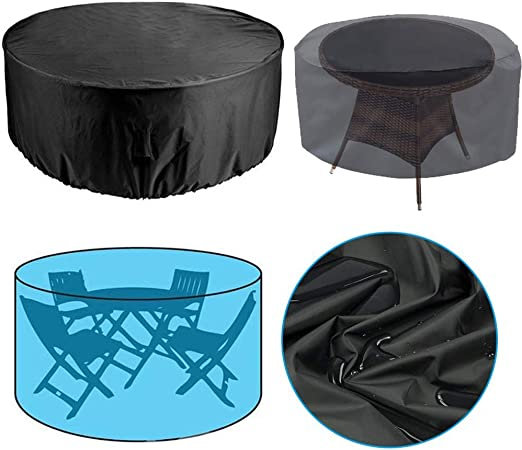 SJMDZZ Funda Protectora Muebles Redondo/Circular de Muebles de Ratán de Jardín Funda para Mesa Impermeable/Prueba de Viento/Prueba de Polvo/Anti UV/Prueba de Lluvia Funda para Mesa Jardin: Amazon.es: Hogar
