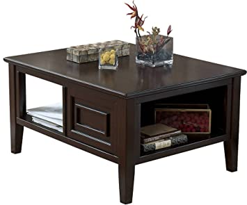 Ashley Furniture Signature Design   Larimer Coffee Table   Cocktail Height    Rectangular   Dark Brown