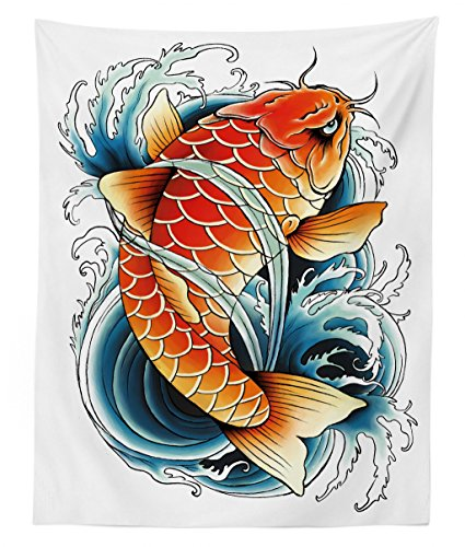 - Lunarable Koi Fish Tapestry Twin Size, Tattoo Styled Drawing of Angry Animal Asia, Wall Hanging Bedspread Bed Cover Wall Decor, 68 W X 88 L inches, Orange Petrol Blue