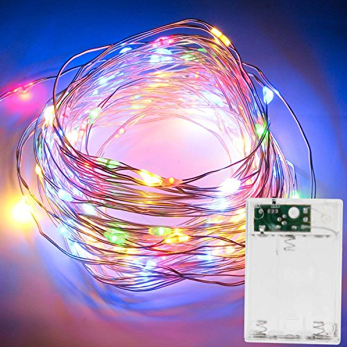 LED String Lights ITERY Multi Color Starry Lights 33ft 100 LED Decorative Christmas Lights Battery Powered Silver Cooper Wire Lights for Patio Gate Christmas Tree or Bedroom Living Room Party Wedding (Cooper Wire Wrap)