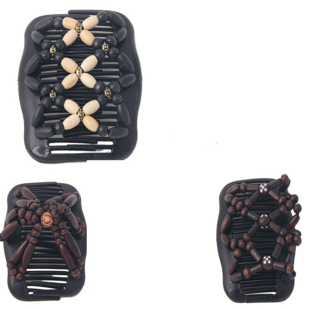 Magic Wooden EZ Stretchy Double Clips Hair Slide Comb New Random colour/design BY V-VAPE MINEET UK LTD