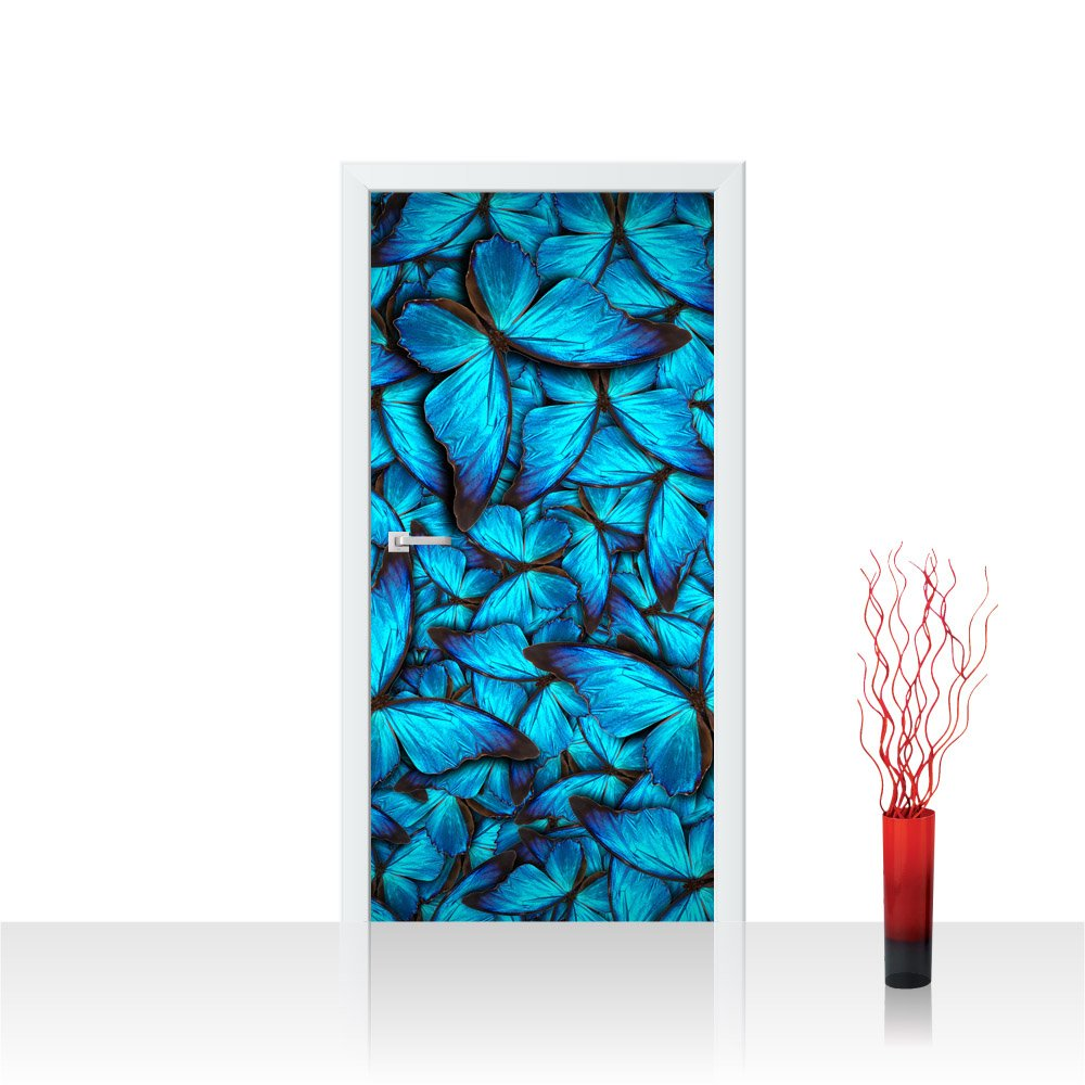 Porta foto Poster da porta carta da 100 x 211 cm porta adesiva da parete, o. in tessuto non tessuto Premium Plus –  Porta Porta Poster porta panel foto carta da immagine –  Animali Natura Farfalle &ndas