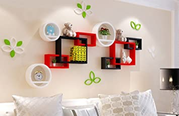 Rack Shelf Wall Shelf Creative Plaid Ornament Shelf Living Room Wall  Hanging Bookshelf Walls Clapboard (
