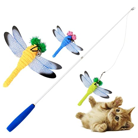 Woopower Juguete para Gato Dragonfly Teaser, libélula, Divertido Palo para Gatos, Juguetes para