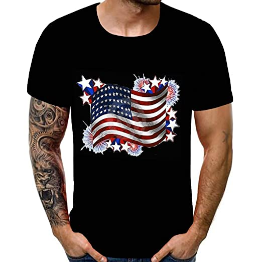 05d31237d31c6 Amazon.com: MILIMIEYIK T-Shirt Mens 4th of July USA Flag ...