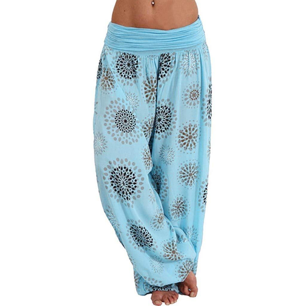 PASATO Women Plus Size Print Pleated Loose Casual Elastic Pants Cropped Full Length Trousers(Light Blue,XXXXXL=US:XXXXL)