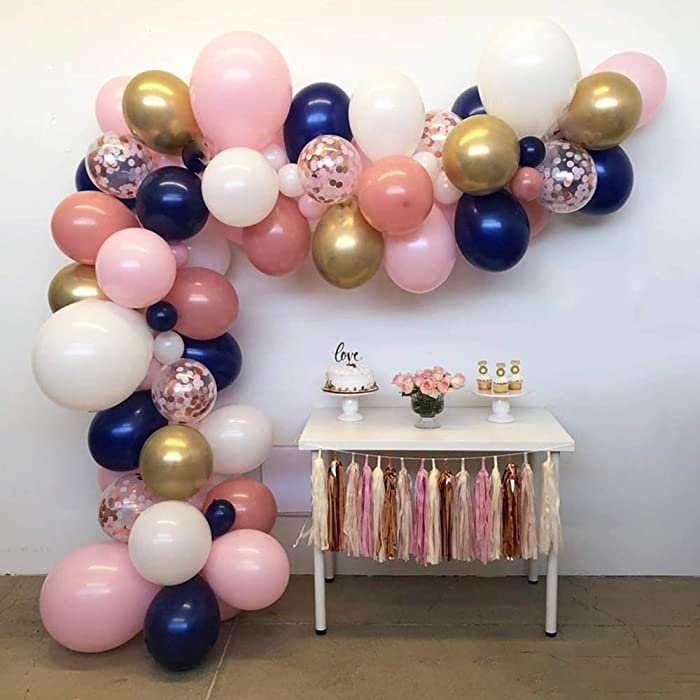 Rose Gold Chrome Gold Navy Blue White Pink Balloon Garland Arch Kit -110pcs Balloons use for Bridal Shower Wedding Birthday Party Baby Shower Gender Reveal Decoration Backdrop