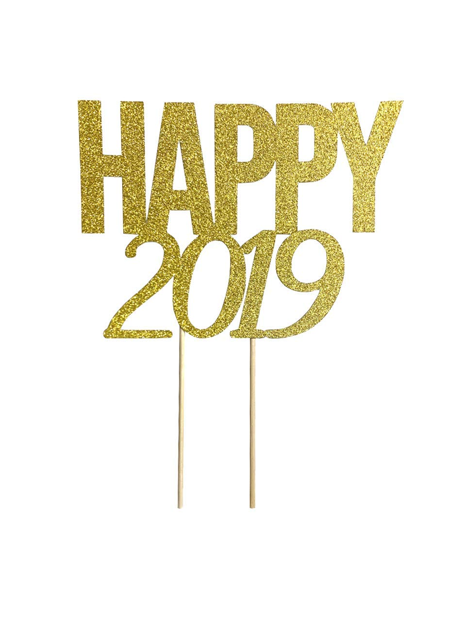 1 pc HAPPY 2019 script fonts new year eves party gold glitter cake topper