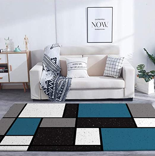 Ldksfj Area Rugs Fashion Modern Blue White Black Gray Matte Square Stitching Living Room Bedroom Kitchen Bedside Carpet Mat 140cmx200cm Amazon Ca Home Kitchen