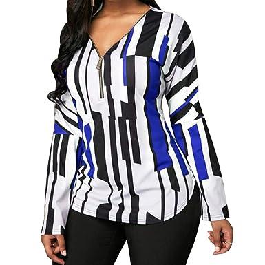 ae13e90f24 Juqilu Women s Casual Chiffon V Neck Long Sleeve Zip Blouse Striped Color  Stitching Shirts Tops Office Daily  Amazon.co.uk  Clothing