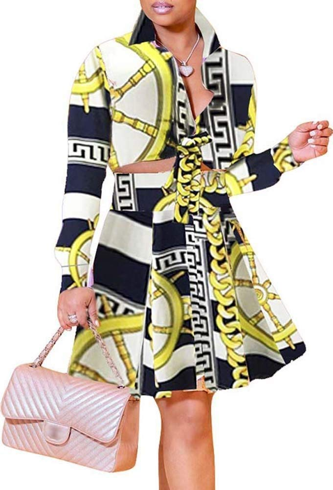 OopStyle Women Palazzo Dashiki 2 Pieces Outfit A Line Skirt Dress Set Plus Size