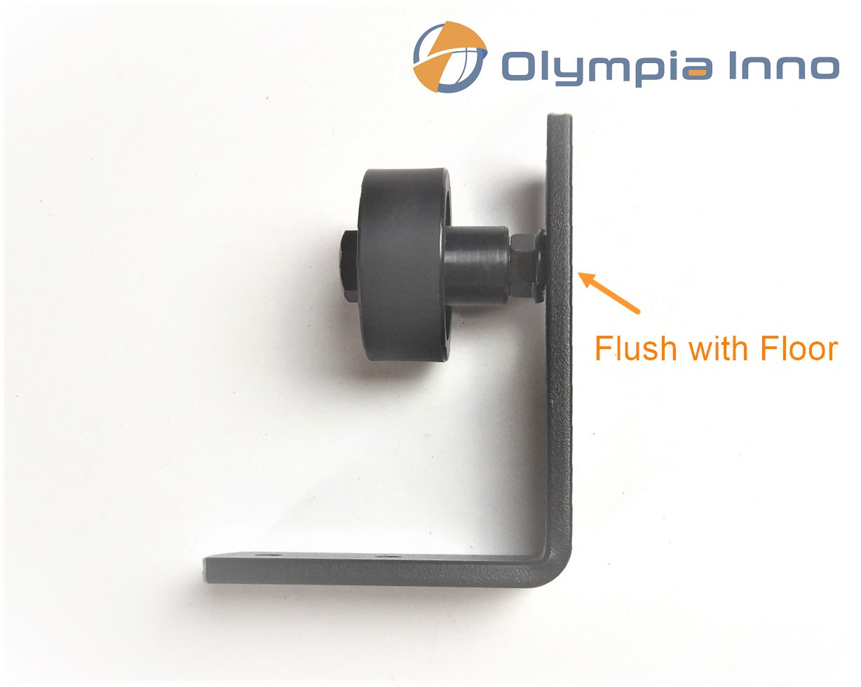 Flush With Floor - Adjustable Barn Door Floor Guide with Flat Bottom Design, Quality Powder Coated Black Wall Mount Guide Perfect for Sliding Barn Doors Up to 2.5 Inches (Screws Incl.) By Olympia Inno