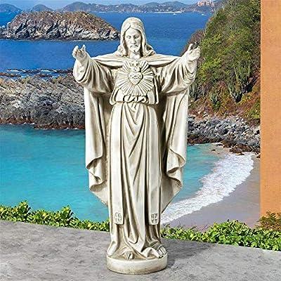 Design Toscano LY712152 The Sacred Heart of Jesus Spiritual Garden Statue, Antique Stone : Garden & Outdoor