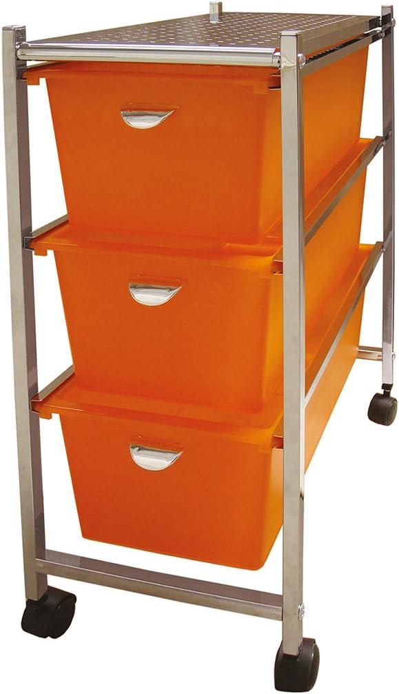 Naranja Laroom Carrito Ancho 3 cajones Chrome Acero Inoxidable Structure y PP Drawers
