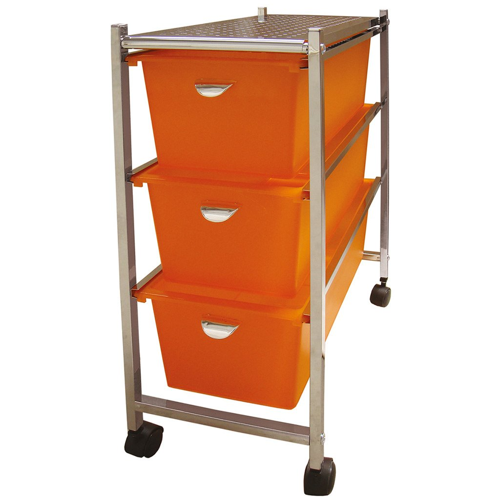 Laroom Carrito Estrecho 3 cajones, Chrome Acero Inoxidable Structure y PP Drawers, Naranja: Amazon.es: Hogar