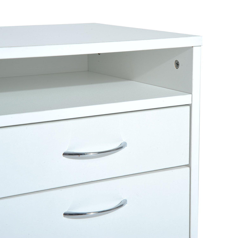 HOMCOM Cajonera Tipo Archivador Móvil para Organizar Documentos en Oficina o Hogar Tiene 3 Compartimientos con Ruedas y Freno Color Blanco 40x35x60cm…