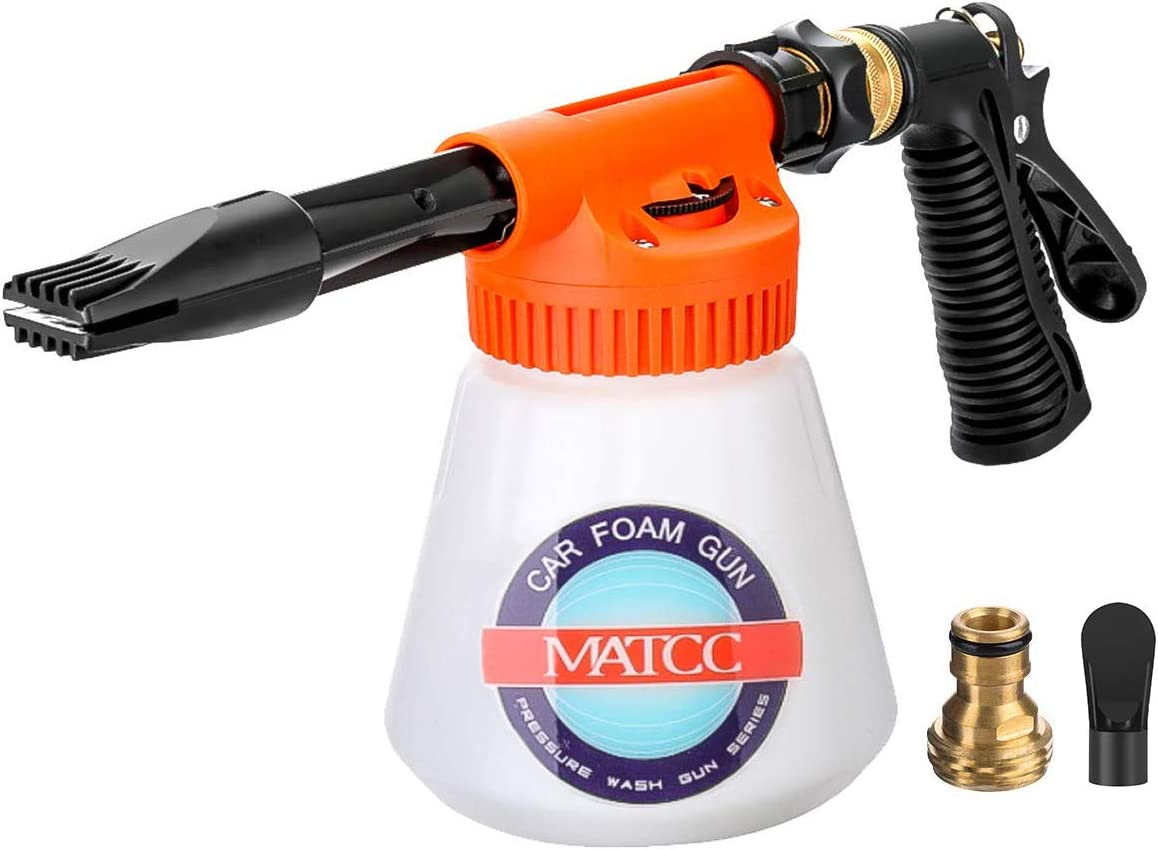 MATCC Car Foam Gun Foam Blaster and Adjustable Car Wash Sprayer with Adjustment Ratio Dial Foam Sprayer Fit Garden Hose for Car Home Cleaning and Garden Use 0.23 Gallon Bottle