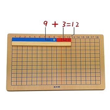 Magideal Montessori Addition Et Division Panneau En Bois Jouets De Calcul Et Mathematiques Jeu Educatif Enfants