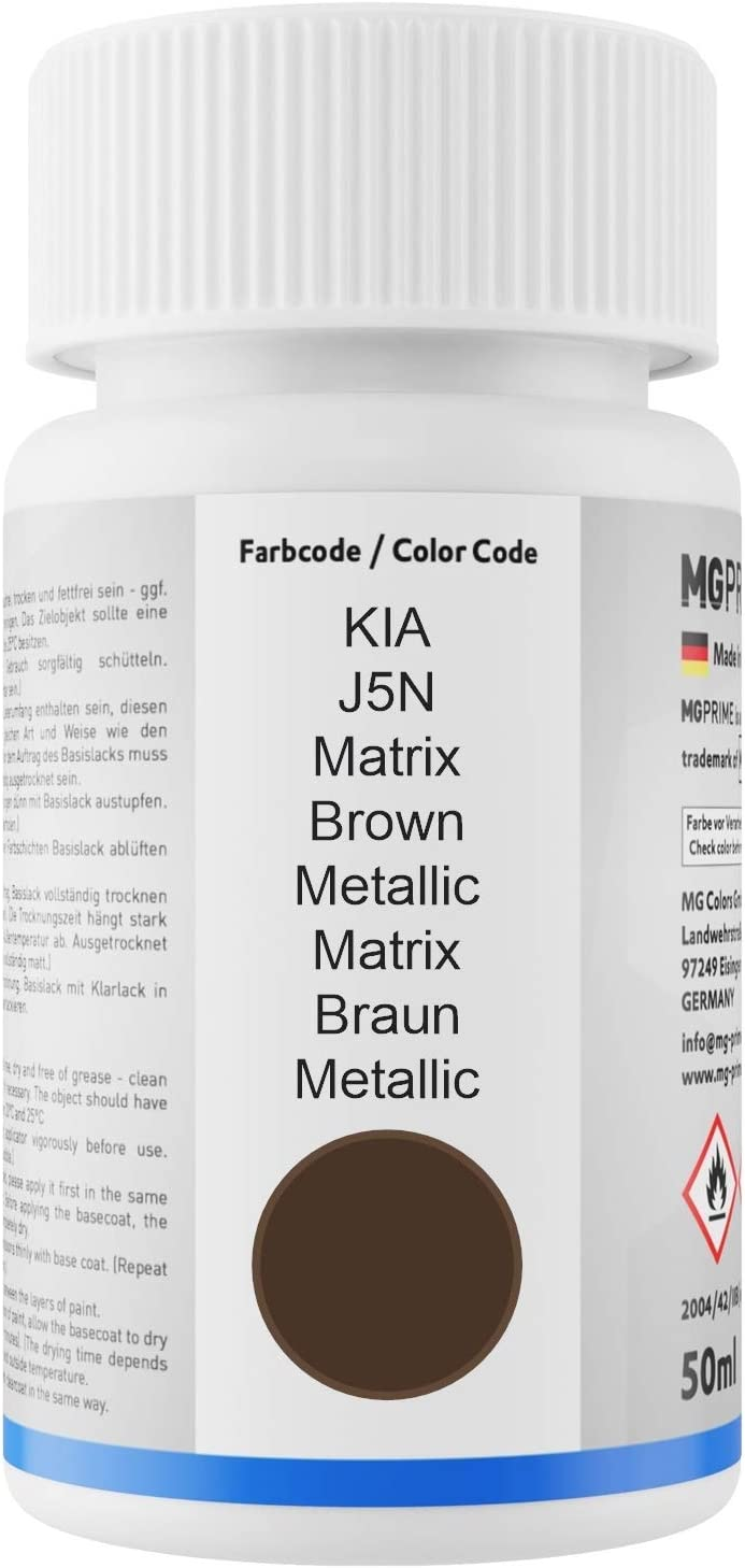 Mg Prime Autolack Lackstift Set Für Kia J5n Matrix Brown Metallic Matrix Braun Metallic Basislack Klarlack Je 50ml Auto