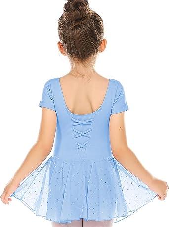 Bricnat - Maillot de ballet para niña de manga corta de algodón ...