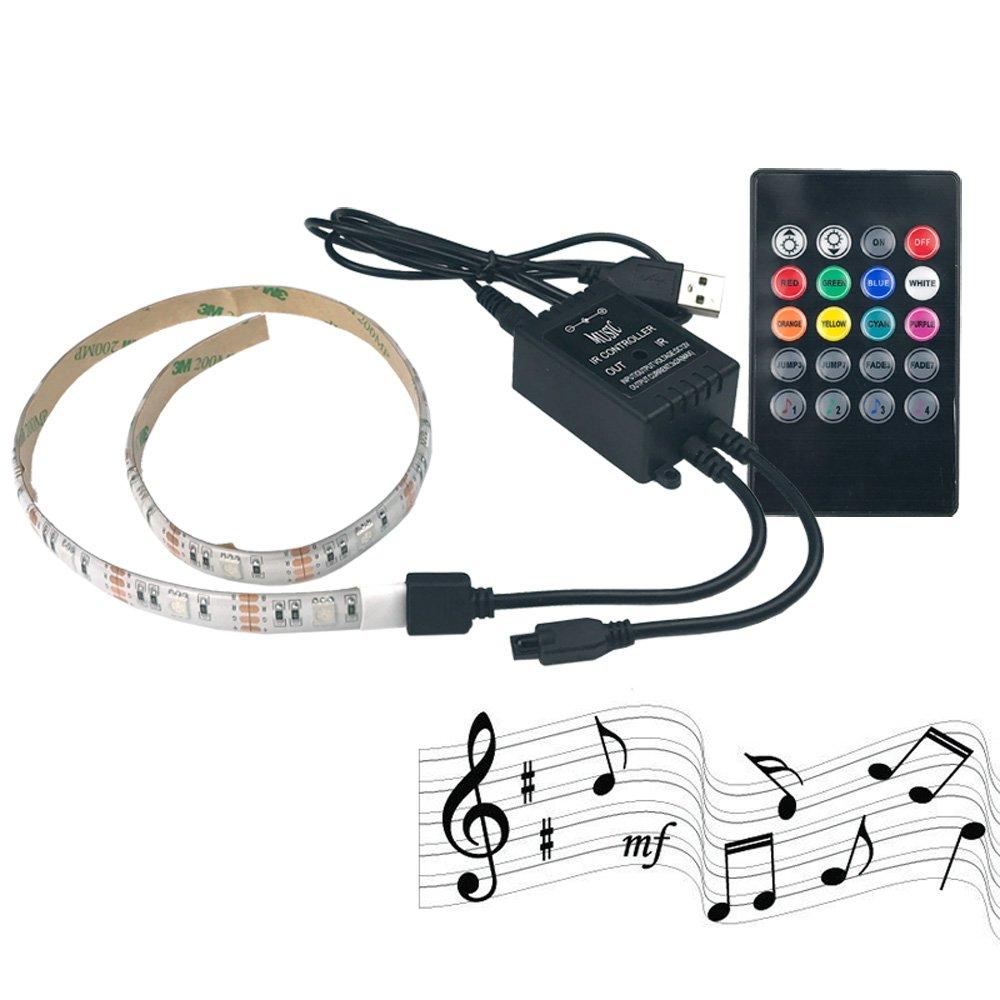 RGB LED Light Strip Brand New 2M 6.6ft DC 5V USB Plug 20 Key 60LED Colors Sync to Music & Timer Sticky Adhesive Backlight Kit for TV Monitor Home Decor Bar Interior Lightning