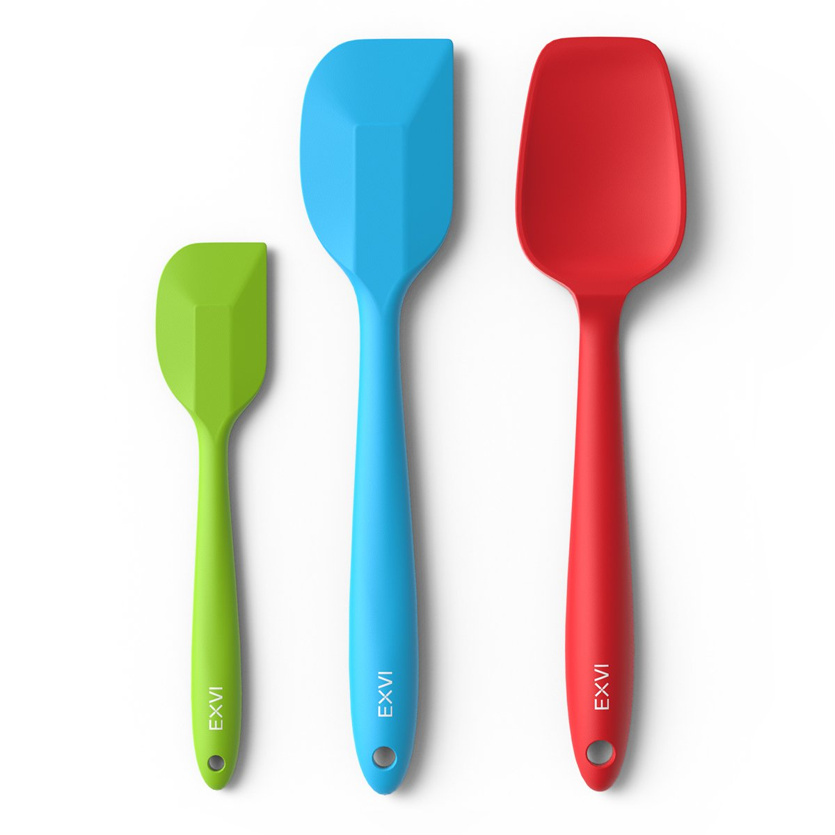 EXVI 3-Piece Flexible Silicone Spatula Sets Rubber Spatula Heat Resistant One-Piece Seamless Bowl Scraper Baking Utensils (Green)