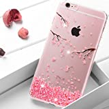 """iPhone 6S Plus Case Silicone,iPhone 6 Plus Case Silicone,iPhone 6S Plus Case Glitter,iPhone 6 Plus Case Glitter,EMAXELER iPhone 6S Plus TPU Silicone Clear Case Cover for iPhone 6 Plus,iPhone 6S Plus Case Glitter Bling Crystal Diamonds Clear Cherry Blossom Pattern Rubber Soft TPU Bumper Case Cover for iPhone 6/6S Plus 5.5"""",Cherry Blossoms"""