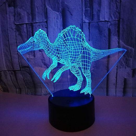 Lámpara de luces nocturnas de dinosaurio 3D 7 colores cambiantes ...