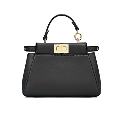 4f02d5a5ad1e Fendi Micro Peekaboo Black Leather Handbag Made in Italy  Handbags   Amazon.com