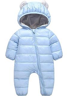 e35eac09c Amazon.com  MNLYBABY Unisex Baby Hooded Puffer Jacket Jumpsuit ...