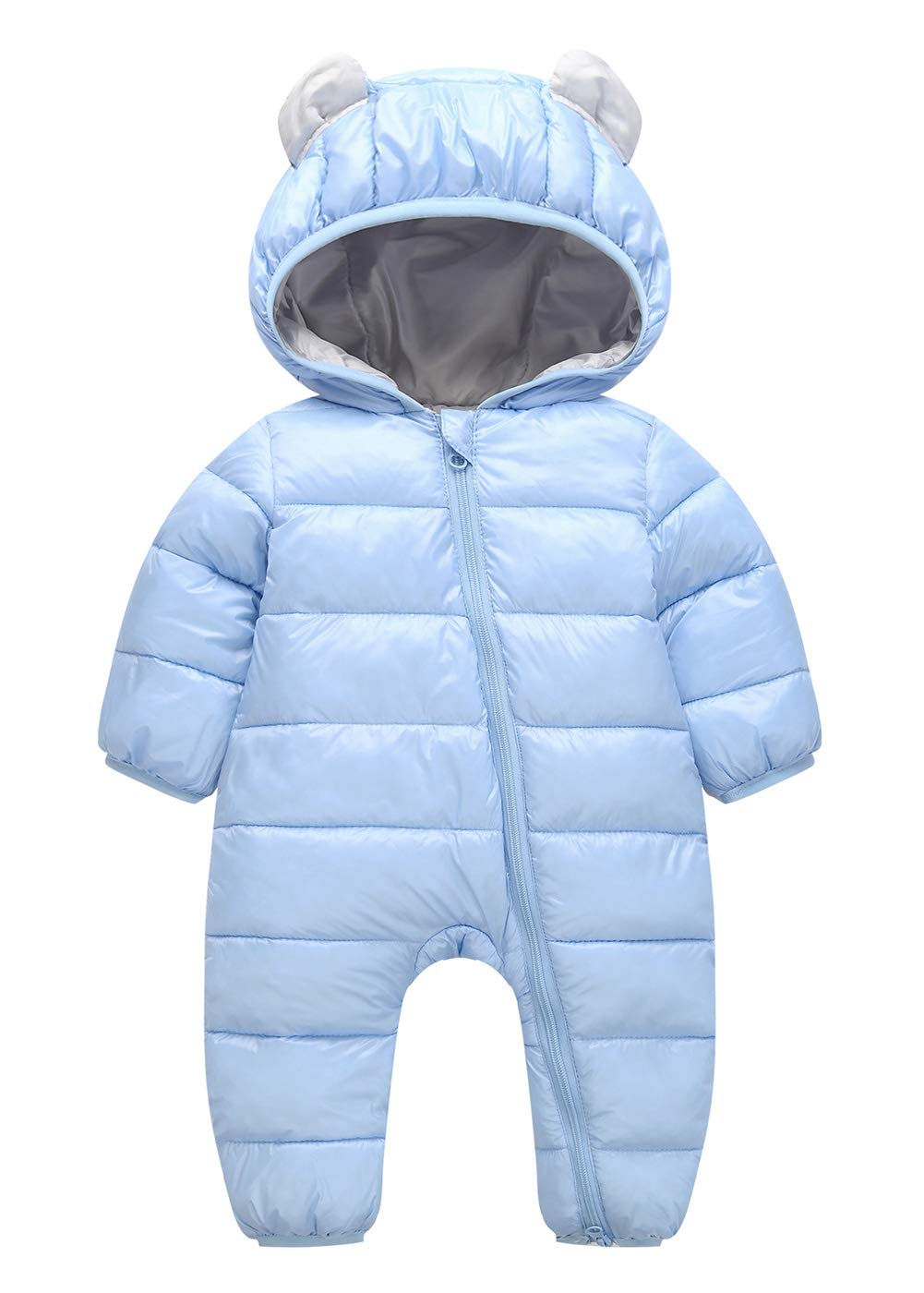 100% Down Cotton Baby Romper Baby Winter Coat Zipper Long Sleeve Cute Baby Snowsuit Blue 12-18 Months Happy Cherry