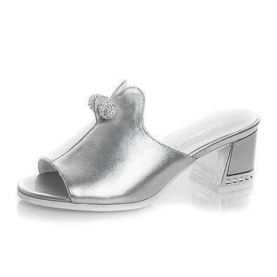 Perle Stras Mule 5cm Femme D'air Carré Slippers 5 Talon wqCxt7RT