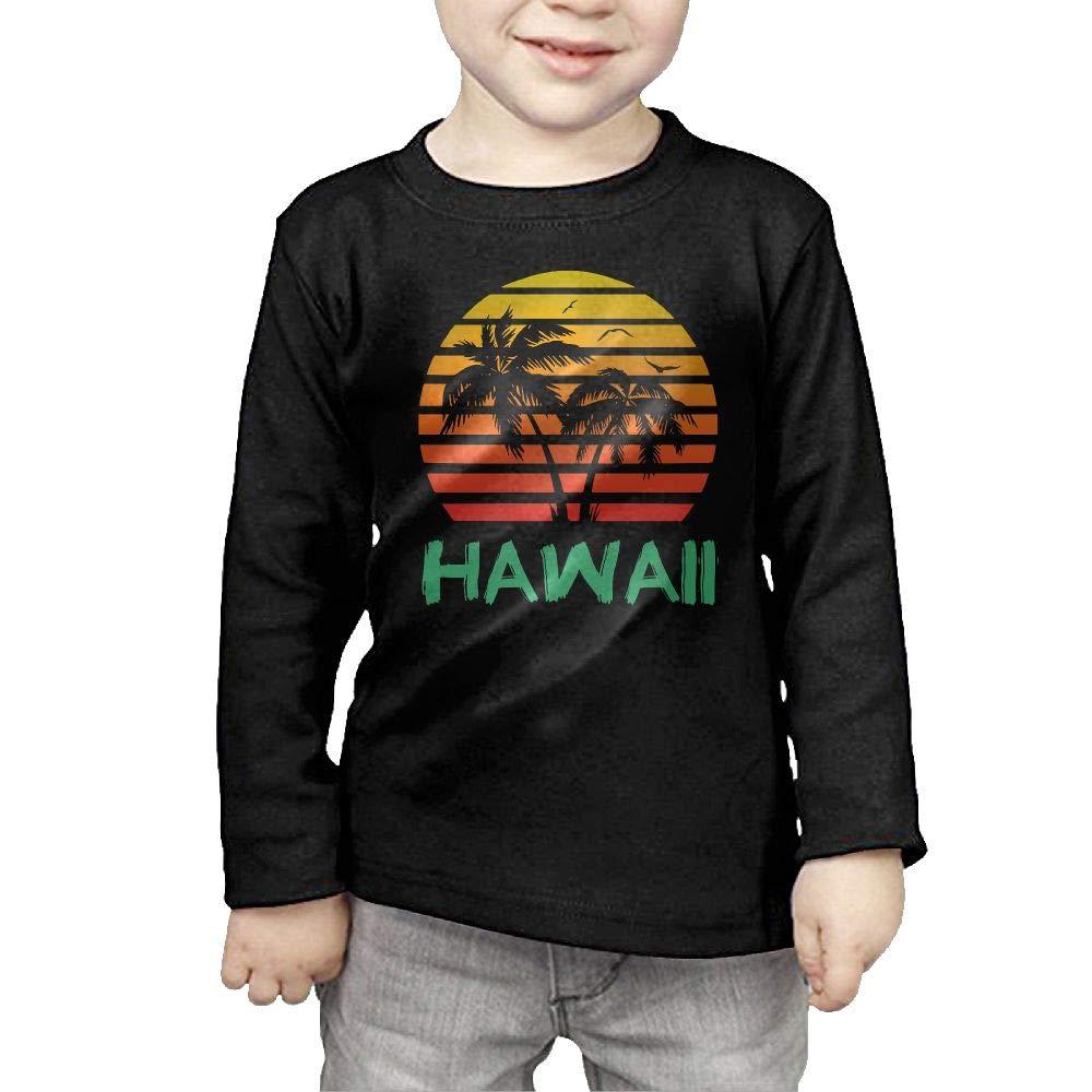 Fryhyu8 Newborn Childrens Hawaii 80s Sunset Printed Long Sleeve 100/% Cotton Infants T-Shirts