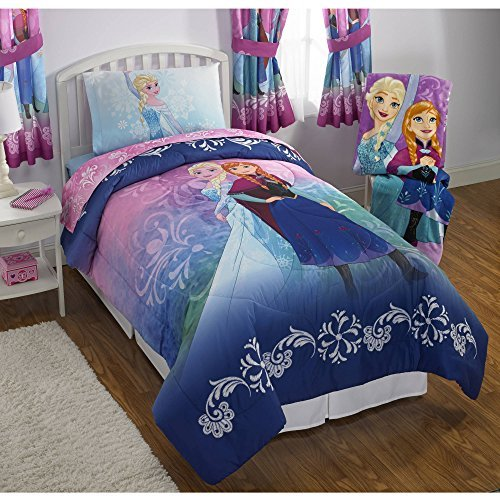 (NEW! Disney Frozen Twin Size Nordic Frost Bedding Set Made of 100% Polyester with Reversible Comforter, Flat Sheet, Fitted Sheet and Pillowcase)