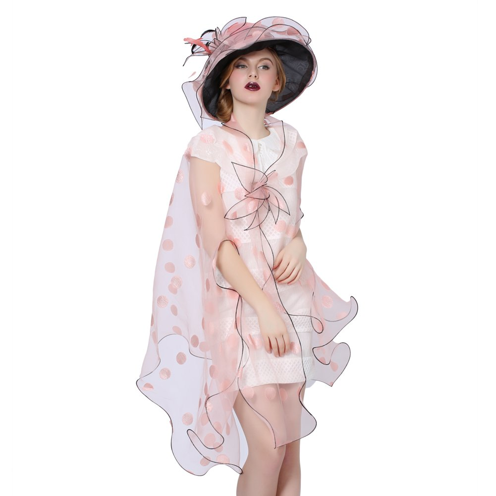 June's Young Women Race Hats Organza Hat with Ruffles Feathers (Pink-2)