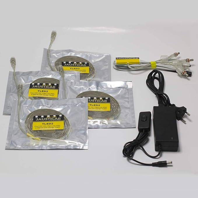 Jausticab Set de iluminación LED para jaulones de cría. Elija cual Necesita en Nuestro Cuadro (Set de iluminación 4x2 Completo)