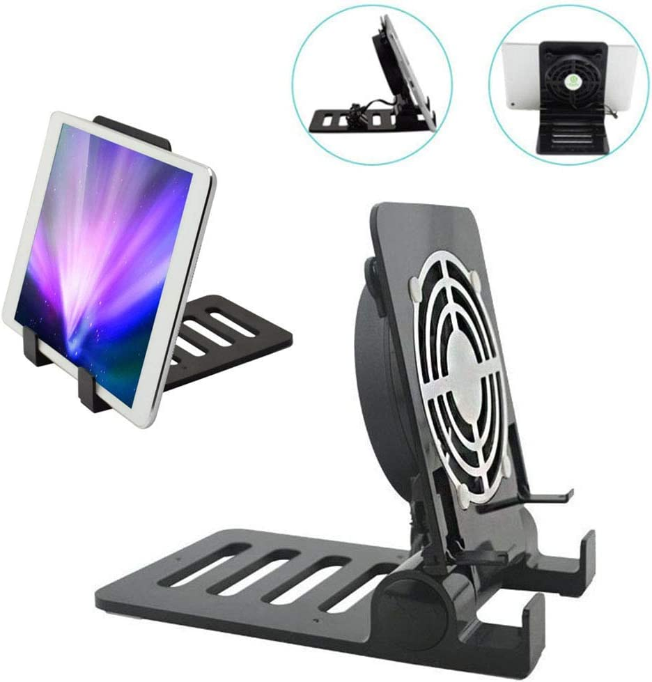 Foldable Phone Stand, Tablet Phone Holder Desk Stand, Mobile Phone Radiator, Cell Phone Cooler Fan, Universal Desktop Mobile Cooling Stand Loptop Tablet Cooling Stand Holder (Black)