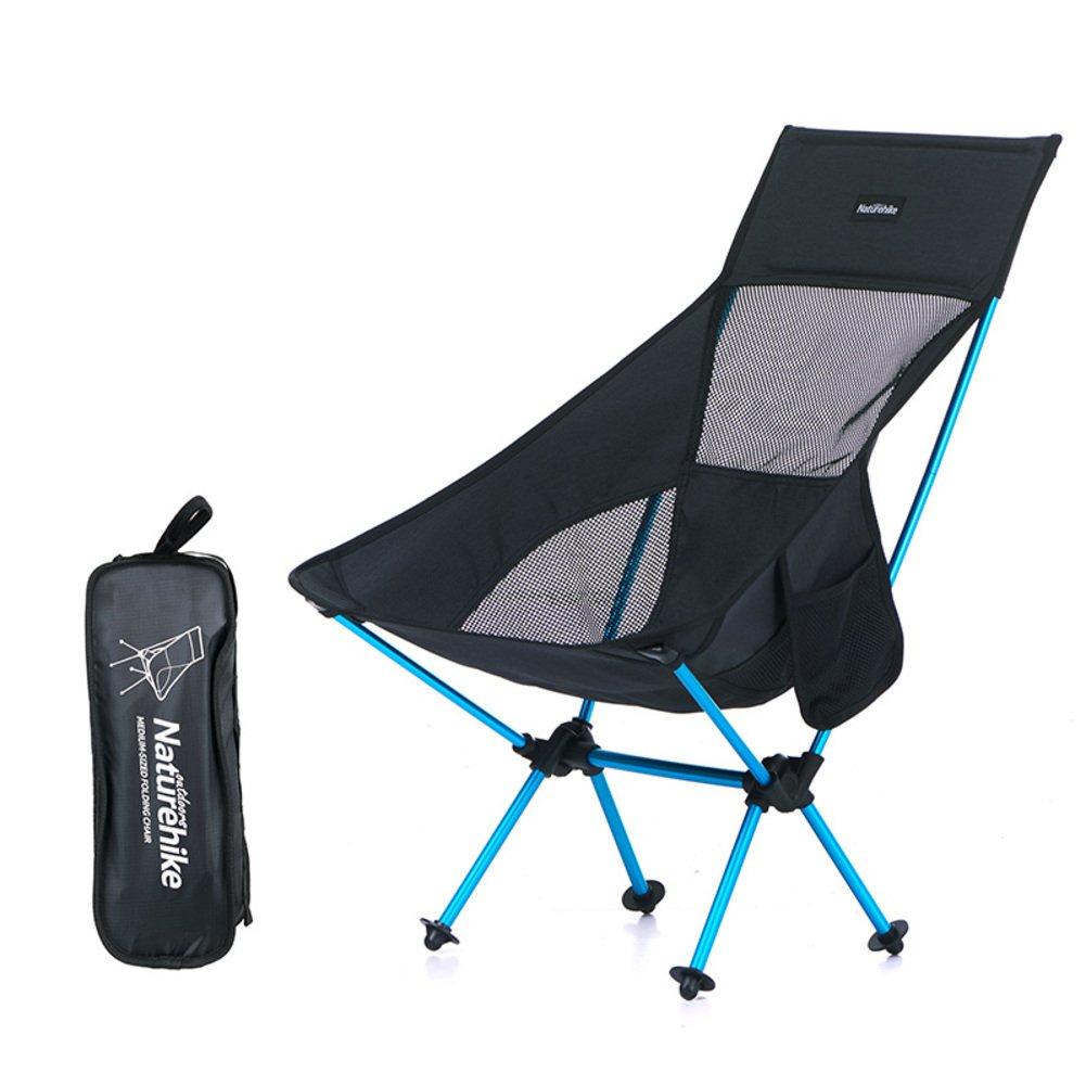 アウトドア ポータブル 折りたたみ椅子 リクライナー 釣り椅子 キャンプ ビーチチェア ランチブレイク スケッチ ムーンラウンジチェア L41.5xH80cm(16x31inch) ブラック B07LG8SB27