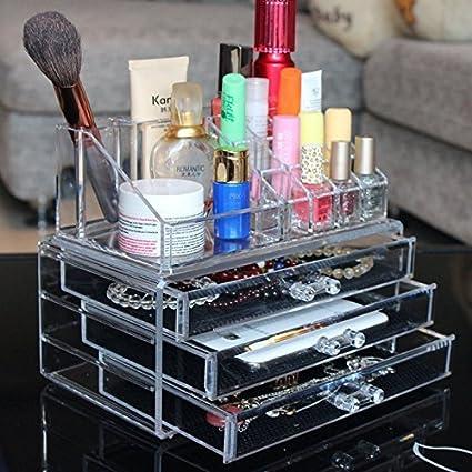 Maquillaje Cosméticos Organizador de acrílico transparente 3 Cajones Caja de almacenamiento / Organizador de acrílico maquillaje