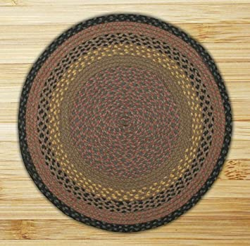 Earth Rugs Round Area Rug, 4u0027, Brown/Black/Charcoal