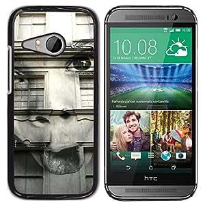 Be Good Phone Accessory // Dura Cáscara cubierta Protectora Caso Carcasa Funda de Protección para HTC ONE MINI 2 / M8 MINI // Distorted Abstract Girl Black White